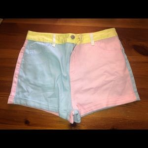 Forever 21 Demin short in pink/blue/yellow